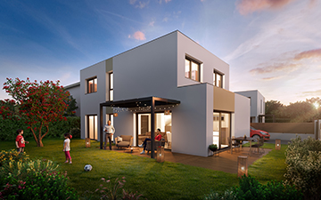 3D Architectural Rendering of a new house at sunset - Valentinstudio