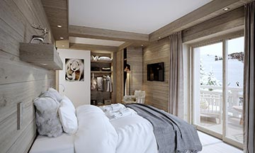 3D photo - Bedroom perspective for a luxury chalet project in Chamonix