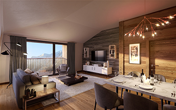 Luxury interior living-room for a new apartment in Chamonix