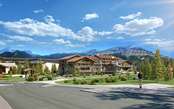 3D visualization of the insertion of a hotel-resort in a mountain landscape
