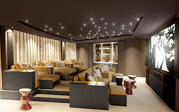 3D Perspective of a private luxury cinema in a villa