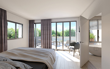 3D Image of a bedroom in a highend house by Valentinstudio
