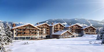 Overview 3D of a hôtel-chalet in La Plagne in a snowy landscape