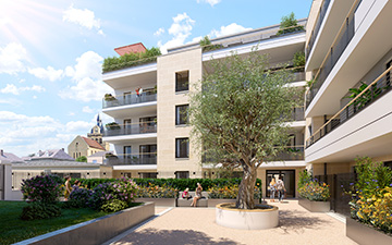 3D exterior visualization of the yard of a building in 3D  - Real estate development