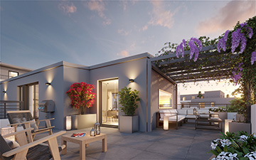 3D exterior render of a modern house and terrace - Real estate development