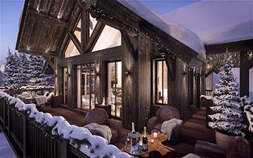 Digital 3D image of a luxurious chalet in a snowy mood