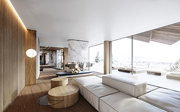 Creation of a 3D visualization representing a luxurious chalet interior