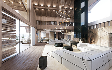 3D render of a luxurious chalet interior