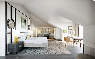 Creation of 3D perspective of a Bedroom in a Provencal style villa