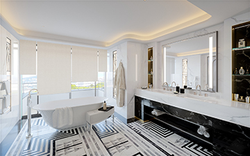 3D render of a bathroom in a luxury villa in Cannes