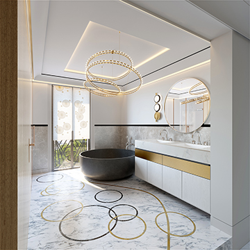 Realistic 3D render of a luxury bathroom in a villa in Cannes