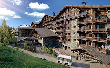 3D Architectural visualization of a resort-hotel exterior render