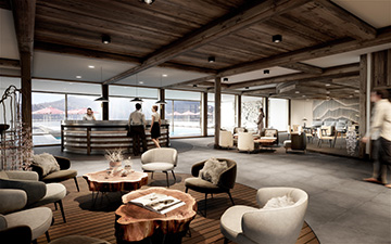 3D interior render of a resort-hotel hall