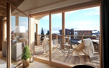 Visualization of a terrace of a highend alpine chalet