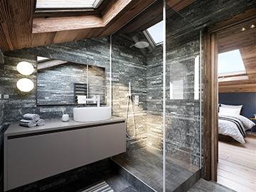 3D render of a bathroom in a luxury chalet