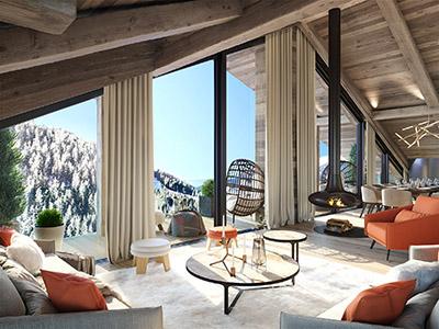 Rendu 3D d'un salon en chalet avec terrasse et vue sur la montagne