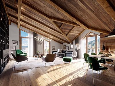 Image 3D d'un salon et salle à manger dans un chalet luxueux