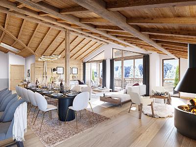 Perspective 3D d'un appartement dans un chalet de montagne