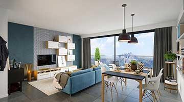 Création d'une perspective 3D d'un salon scandinave d'appartement de luxe.