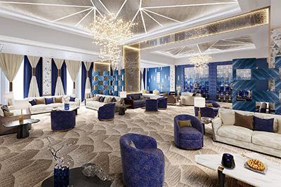 Perspective 3D d'un salon luxueux dans une villa Marocaine