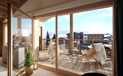 Image 3D d'un balcon avec des transats avec vue sur une ville de montagne