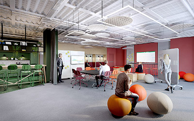 Rendu photoréaliste 3D du design intérieur de bureaux modernes et originaux