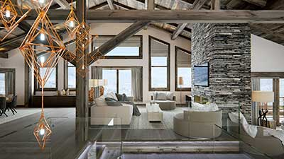 3D View of the living room of a luxurious chalet.