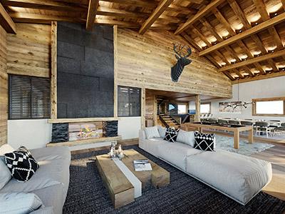 Image 3D d'un salon et d'une salle à manger dans un appartement de montagne dans les Alpes