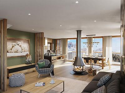 Perspective 3D d'un appartement dans un chalet dans les Vosges
