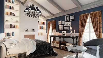 Chambre de luxe à l'île-de-Ré en image de synthèse pour un projet de promotion immobilier