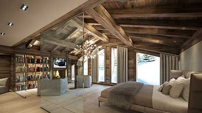 3D Photo of a luxurious room in a chalet in Combloux (Haute Savoie)