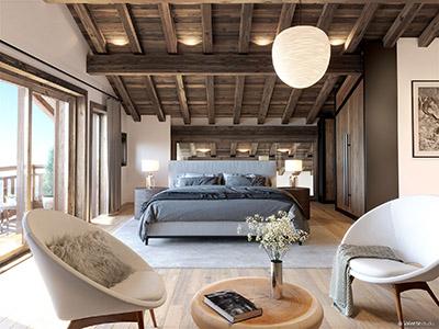 Graphismes 3D d'une chambre moderne de chalet avec coin salon