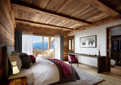 Perspective 3D d'une chambre et sa terrasse dans un hôtel