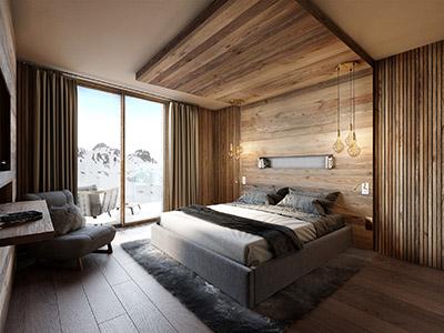 Image de synthèse 3D d'une chambre d'hôtel de montagne