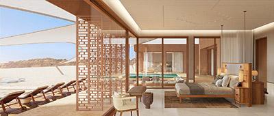 Image 3D d'une chambre dans une villa luxueuse dans le désert du Maroc