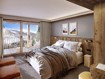 Rendu 3D d'une chambre dans un chalet à Chamonix