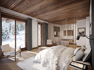 Archviz 3D d'une chambre dans un chalet de montagne