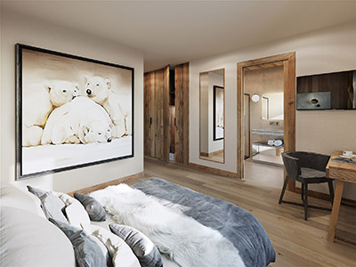 Visualisation 3D d'une chambre dans un chalet dans les Alpes
