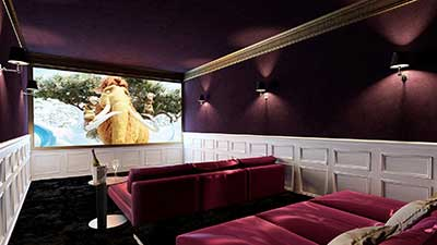 3D view, perspective of a personal cinema in a luxurious chalet made from computer generated images.