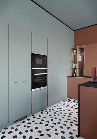 Visualisation architecturale 3D de l'intérieur d'une cuisine moderne avec ses rangements