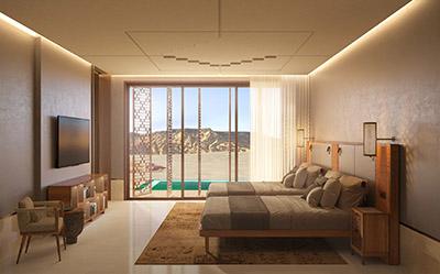 Rendu 3D photoréaliste d'une chambre de luxe au Maroc
