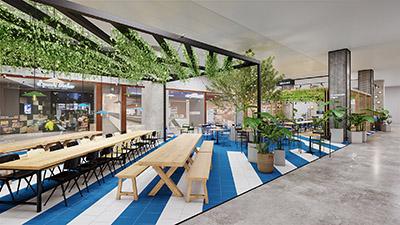 Réalisation 3D d'un espace de restauration collective design