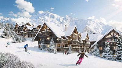 Image de synthèse 3D d'une piste de ski et de chalets en hiver