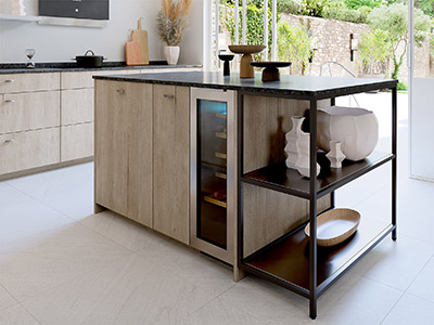 Image de synthèse 3D de l'îlot central d'une cuisine moderne