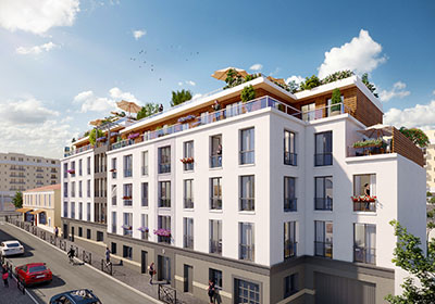 Image de synthèse 3D d'un immeuble moderne