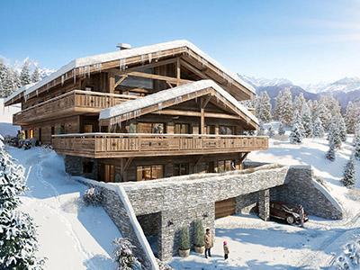 Visualisation 3D d'un chalet de luxe en hiver, dans la montagne enneigée
