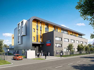 Visualisation 3D d'un bâtiment moderne de formation professionnelles