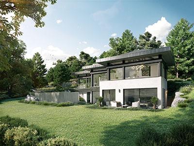 Représentation 3D d'une maison individuelle contemporaine luxueuse