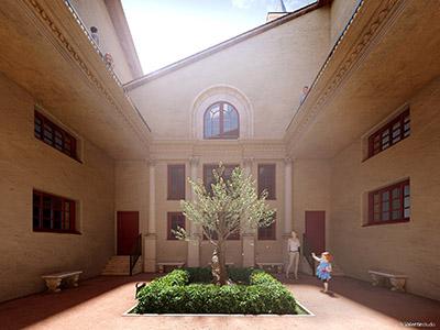 Représentation 3D du patio d'un couvent avec un espace végétal au centre