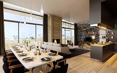Création graphique 3D  : Photo de vue en perspective 3D d'un salon d'appartement de luxe.